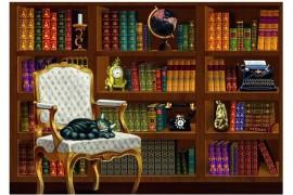 Vintage könyvtár puzzle 1000 db