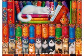 Cicás könyvespolc puzzle 1000 db